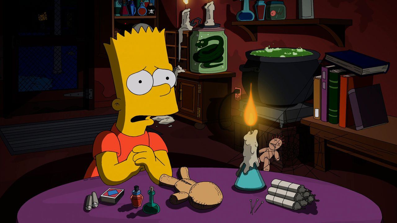 Weil Bart den Kunstunterricht hasst, versucht er, seine neue Kunstlehrerin mit einem Voodoo-Zauber zu bannen. Doch der Umgang mit schwarzer Magie ge... - Bildquelle: 2013 Twentieth Century Fox Film Corporation. All rights reserved.
