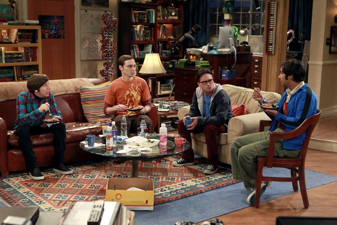 Eine ganz besondere Truppe: Sheldon (Jim Parsons, 2.v.l.), Raj (Kunal Nayyar, r.), Leonard (Johnny Galecki, 2.v.r.) und Howard (Simon Helberg, l.) ... - Bildquelle: Warner Bros. Television