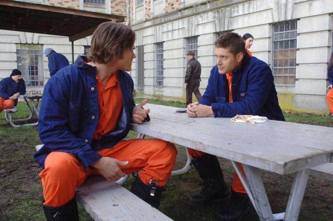 Um einen Geist zu finden, der Häftlinge tötet, lassen sich Sam (Jared Padalecki, l.) und Dean (Jensen Ackles, r.) in die staatliche Strafanstalt ein... - Bildquelle: Warner Bros. Television