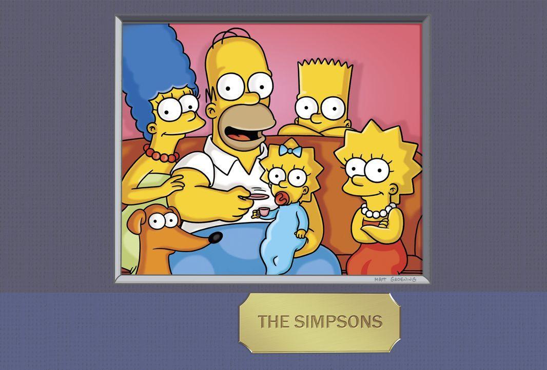 (24. Staffel) - Die Simpsons: Maggie (3.v.l.), Marge (l.), Homer (2.v.l.), Bart (2.v.r.) und Lisa Simpson (r.) ... - Bildquelle: und TM Twentieth Century Fox Film Corporation - Alle Rechte vorbehalten
