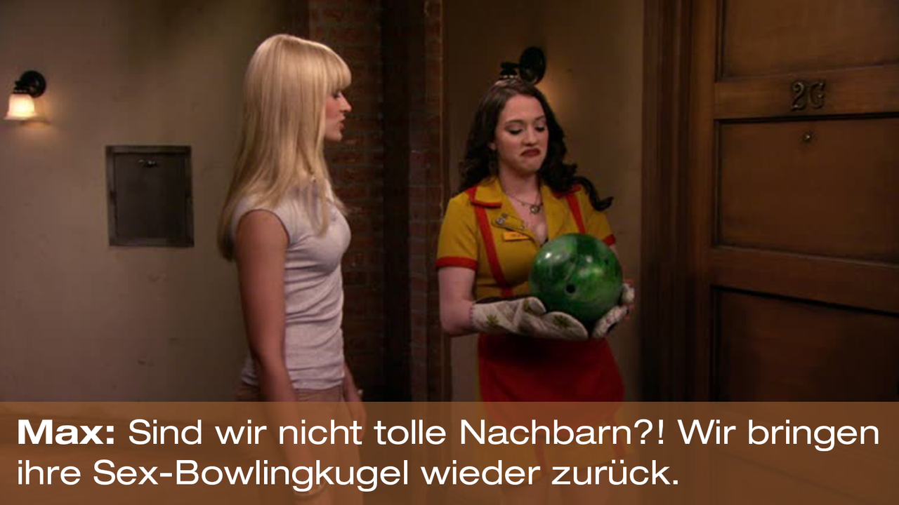2-Broke-Girls-Zitat-Quote-Staffel2-Episode20-Das-Loch-in-der-Decke-Max-Bowlingkugel-Warner - Bildquelle: Warner Bros. Television