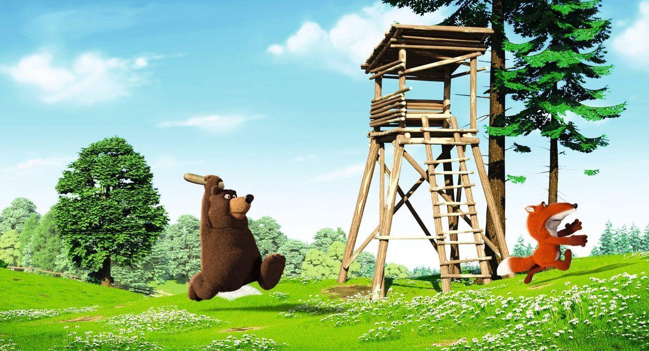 Im Gegensatz zum Keinohrhasen und Zweiohrküken sind der Bär (l.) und der Fuchs (r.) keine guten Freunde und haben es nicht nur aufeinander, sondern... - Bildquelle: Warner Brothers