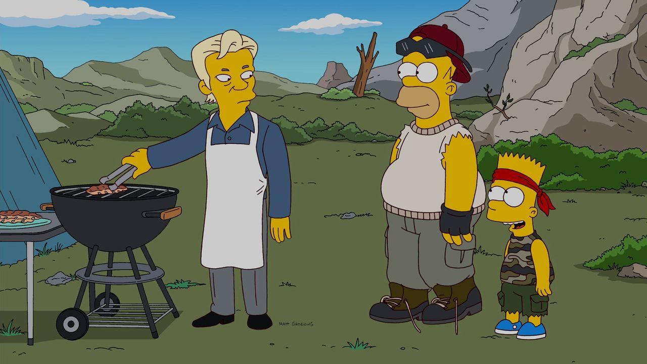 Homer (M.), Bart (r.), Marge, Maggie und Lisa verlassen ihre Heimatstadt Springfield und schließen sich einer autarken Gemeinde außerhalb der Stad... - Bildquelle: und TM Twentieth Century Fox Film Corporation - Alle Rechte vorbehalten
