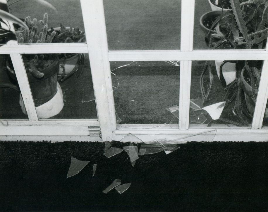 Bei der Terrassentür, durch die der Einbrecher ins Haus gelangte, fällt den Ermittlern sofort etwas Merkwürdiges auf: Die Glasscheibe wurde von inne... - Bildquelle: Licensed by Universal Studios International B. V.