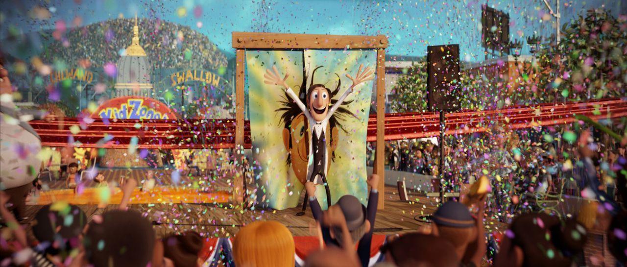 Er hat es geschafft! Der leidenschaftliche Tüftler Flint Lockwood hat etwas entwickelt, was die Menschen auf der Affeninsel glücklich macht ... - Bildquelle: 2009 Sony Pictures Animation Inc. All Rights Reserved.