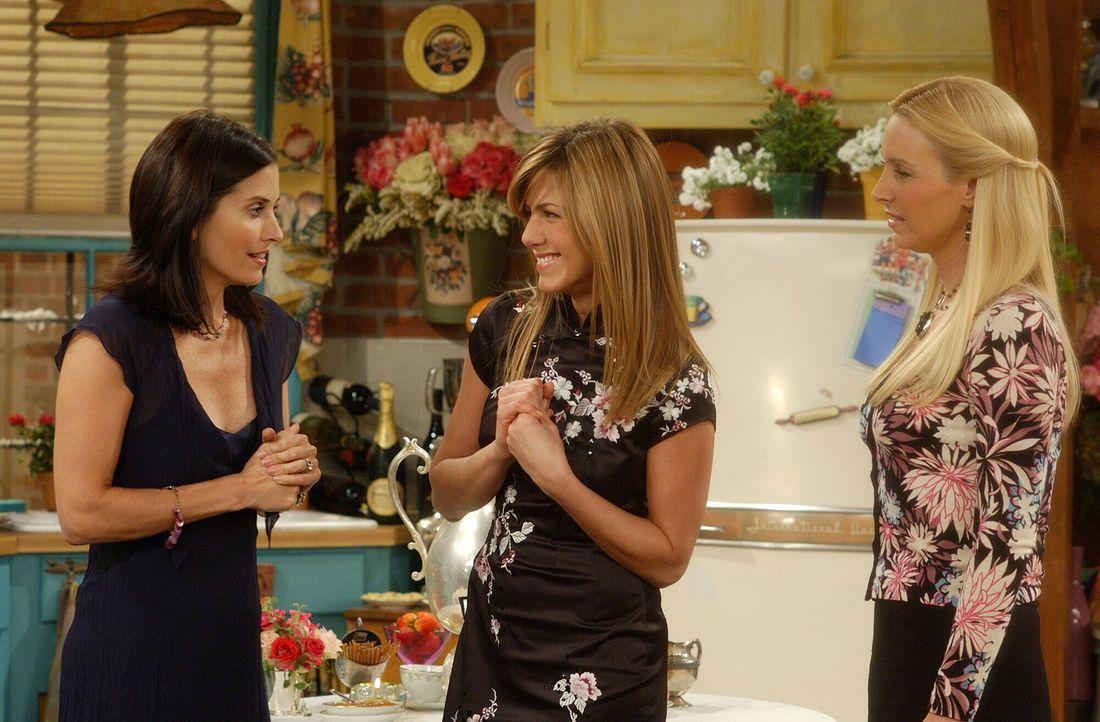 Monica (Courteney Cox, l.) und Rachel (Jennifer Aniston, M.) haben für Phoebe (Lisa Kudrow, r.) zum Junggesellinnenabschied eine besondere Überrasch... - Bildquelle: 2003 Warner Brothers International Television