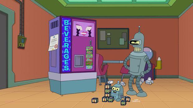 Bender (r.) gerät mit der neuesten Errungenschaft bei Planet Express, einem G...