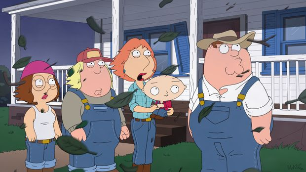 Weil es in Quahog immer krimineller zugeht, flüchten Chris (2.v.l.), Lois (M....