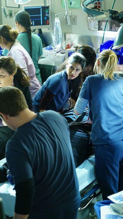 Für Malaya (Melanie Chandra, M.) und das Team wird ihr neuster Fall persönlich, als Jesse von einem Patienten angegriffen wird und einen Herzinfarkt... - Bildquelle: Monty Brinton 2015 American Broadcasting Companies, Inc. All rights reserved.