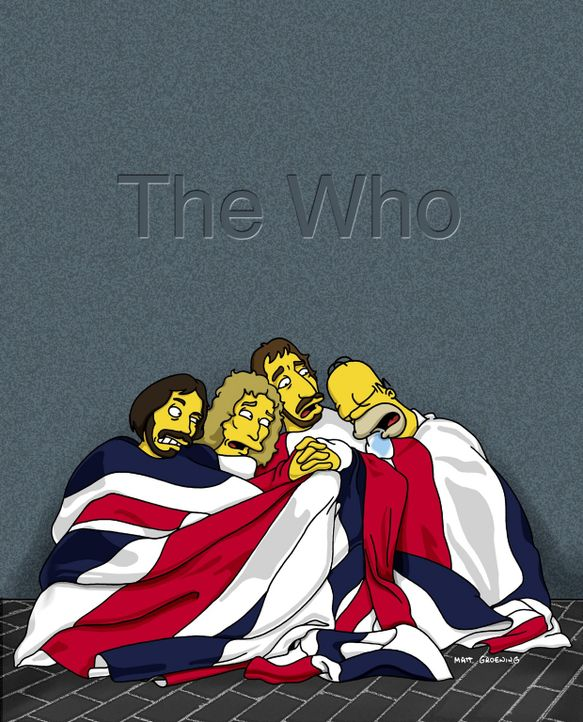 """Völlig entnervt betrachtet die Rockgruppe """"The Who"""" den schlafenden Homer (r.). - Bildquelle: TM +   2000 Twentieth Century Fox Film Corporation. All Rights Reserved."""