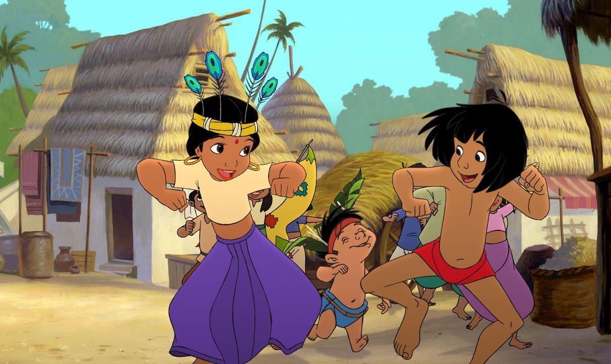 Obwohl Mogli (r.) in der Menschensiedlung, Shanti (l.) und Ranjan (M.) - zwei Freunde fürs Leben gefunden hat, vermisst er seine alte Freunde aus d... - Bildquelle: Disney Enterprises, Inc. All rights reserved.