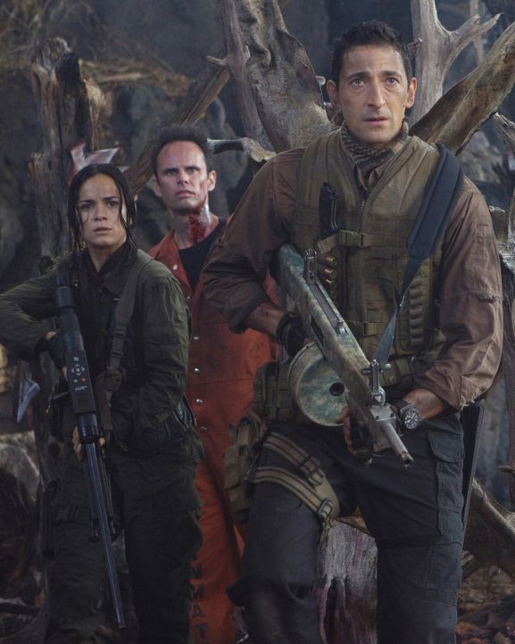 Von Aliens entführt, um gegen sie zu kämpfen: (v.l.n.r.) Isabelle (Alice Braga), Stans (Walton Goggins) und Royce (Adrien Brody) ... - Bildquelle: 2010 Twentieth Century Fox Film Corporation. All rights reserved.