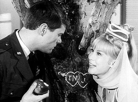 Bezaubernde Jeannie - Tony (Larry Hagman, l.) erzählt Jeannie (Barbara Eden,...