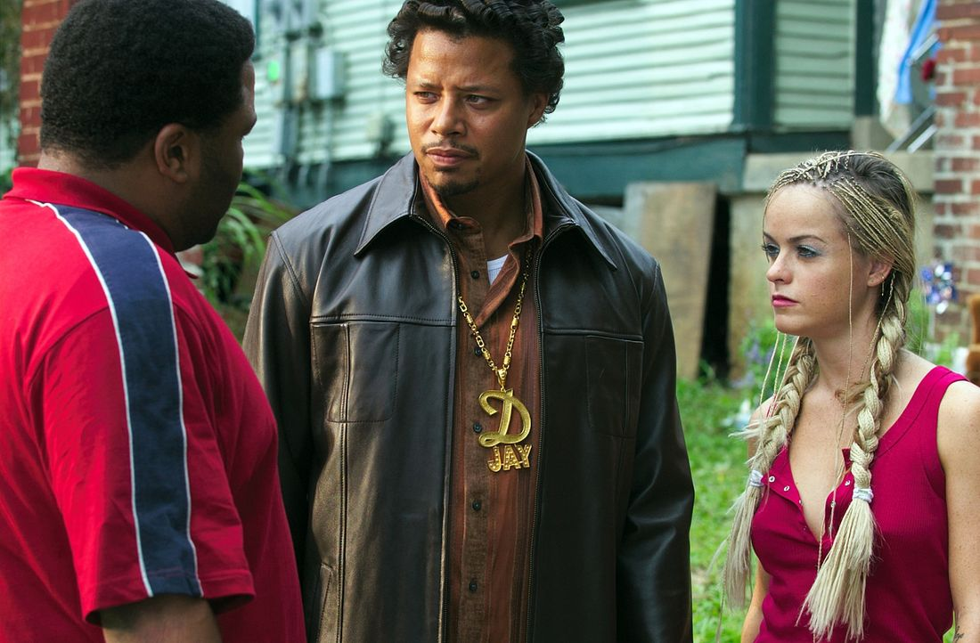 Wie können sie das Demoband von Djay (Terrence Dashon Howard, M.) an den richtigen Mann bringen? Key (Anthony Anderson, l.) und Nola (Taryn Manning,... - Bildquelle: 2005 by PARAMOUNT PICTURES. All Rights Reserved.