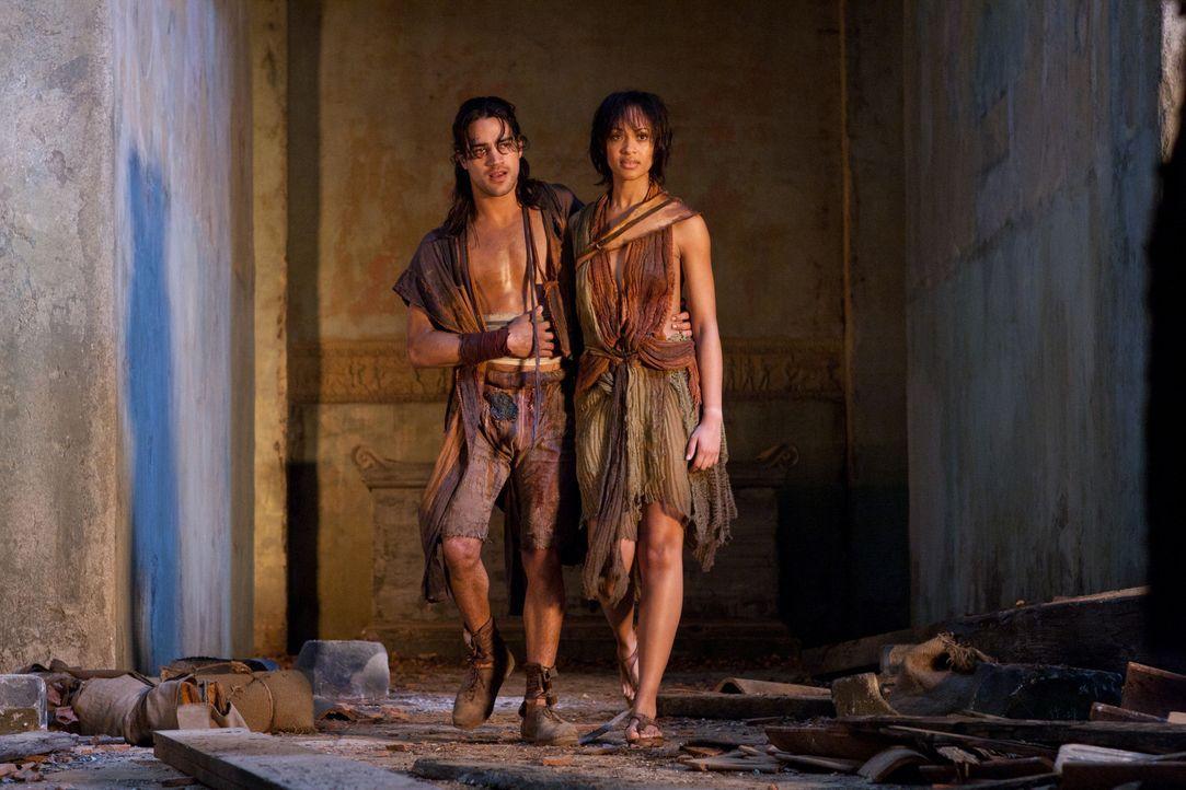 Während Naevia (Cynthia-Addai Robinson, r.) Nasir (Pana Hema Taylor, l.) gesund pflegt, wagen sich Spartacus, Mira und weitere Kämpfer mitten in d... - Bildquelle: 2011 Starz Entertainment, LLC. All rights reserved.