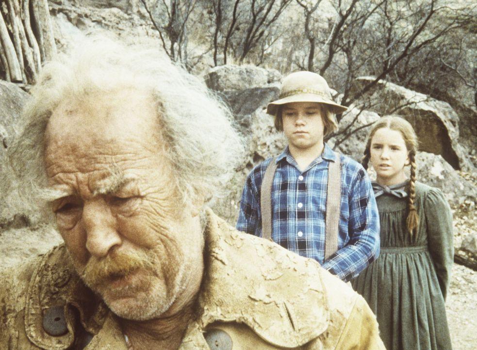 Der alte Goldsucher Zachariah (E. J. Andre, l.) erzählt Laura (Melissa Gilbert, r.) und Carl (Brian Part, M.), dass er zwar viel Gold gefunden, abe... - Bildquelle: Worldvision