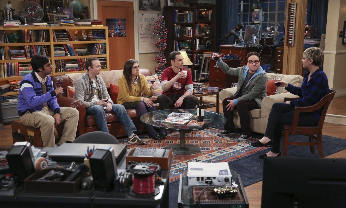 Müssen von einer ganz besonderen Person Abschied nehmen: Amy (Mayim Bialik, 3.v.l.), Sheldon (Jim Parsons, 3.v.r.), Leonard (Johnny Galecki, 2.v.r.)... - Bildquelle: Warner Bros. Television