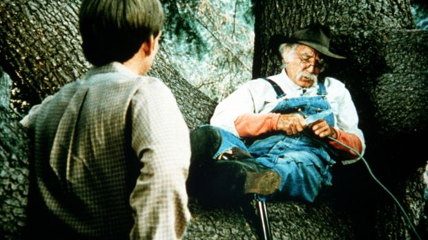 Jason (Jon Walmsley, l.) entdeckt Boone (Morgan Woodward, r.) im Wald, der si...
