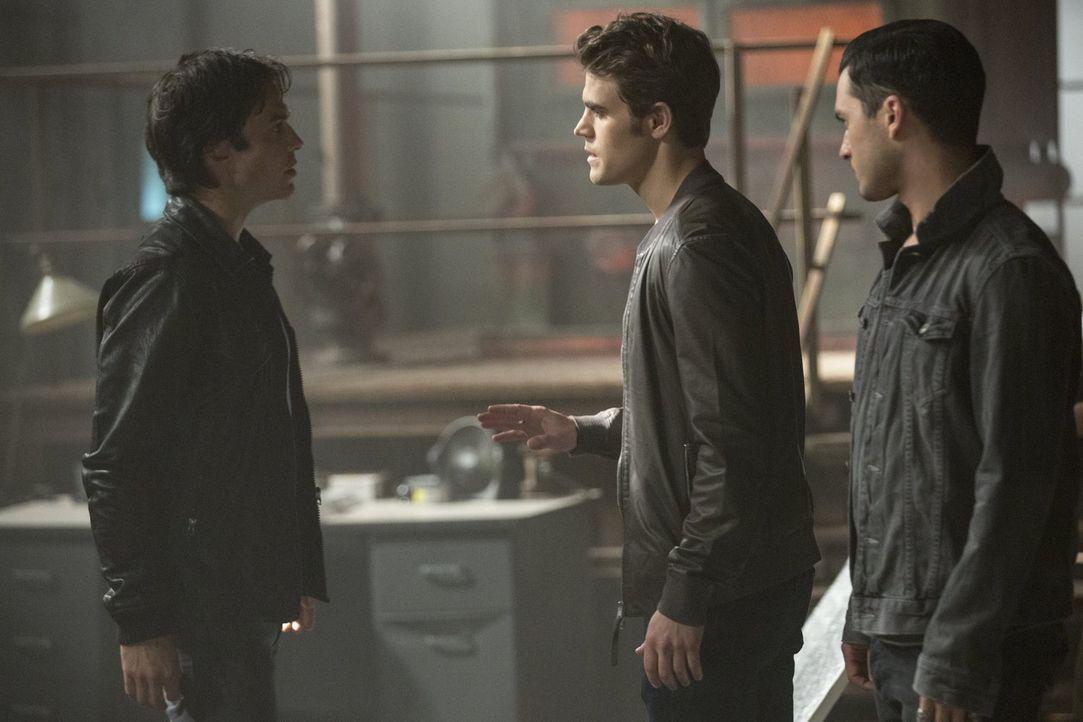 Als Sybil Damon (Ian Somerhalder, l.) und Enzo (Michael Malarkey, r.) aufträgt bis zum Tode miteinander zu kämpfen, entschließt sich Damon dazu, Ste... - Bildquelle: Warner Bros. Entertainment, Inc.