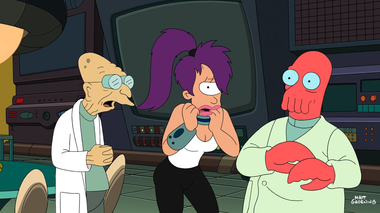 Das Temperament geht mit Leela (M.) durch. Professor Hubert (l.) und Zoidberg (r.) machen sich an die Bestrafung ... - Bildquelle: 2008 Twentieth Century Fox Film Corporation. All rights reserved.
