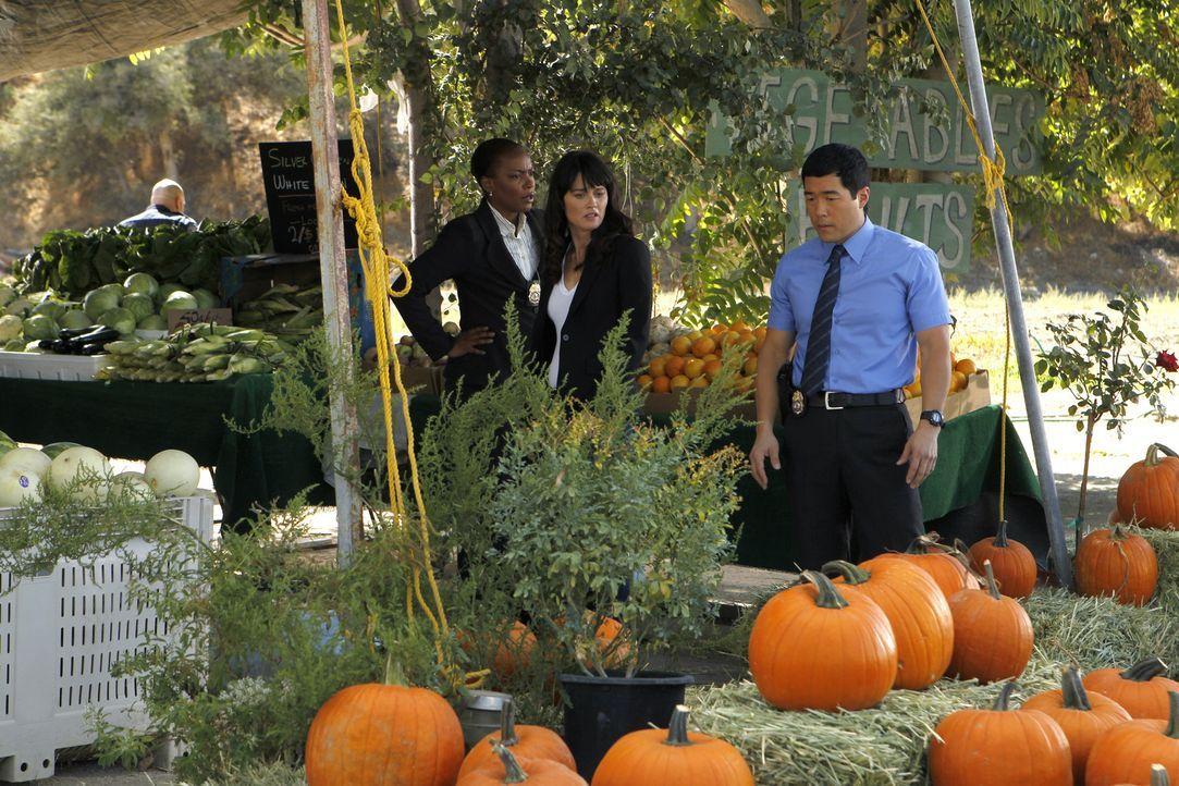 Patrick wird entführt. Teresa (Robin Tunney, M.), Madeleine (Aunjanue Ellis, l.) und Kimball (Tim Kang, r.) nehmen sich die Fälle vor an denen er... - Bildquelle: Warner Bros. Television