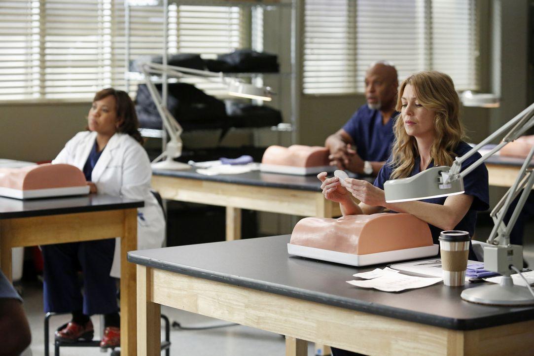Üben an einer neuen, einheitlichen Methode für einen Leistenbruch: Meredith (Ellen Pompeo, r.), Bailey (Chandra Wilson, l.) und Richard (James Pic... - Bildquelle: ABC Studios