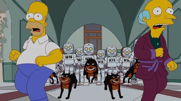 Mr. Burns (r.) plant, seine Angestellten durch Roboter zu ersetzen, damit das...