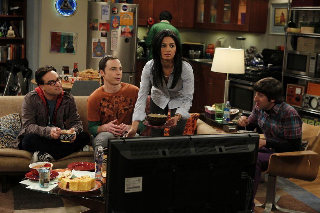 Trotz alldem, was passiert ist, bleiben Leonard (Johnny Galecki, l.), Sheldon (Jim Parsons, 2.v.l.), Priya (Aarti Mann, 2.v.r.), Howard (Simon Helbe... - Bildquelle: Warner Bros. Television