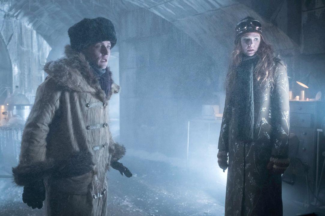 Machen sich auf die Suche nach Mr. Freeze, um ihn zur Zusammenarbeit zu bitten: Penguin (Robin Lord Taylor, l.) und Ivy (Maggie Geha, r.) ... - Bildquelle: Warner Brothers