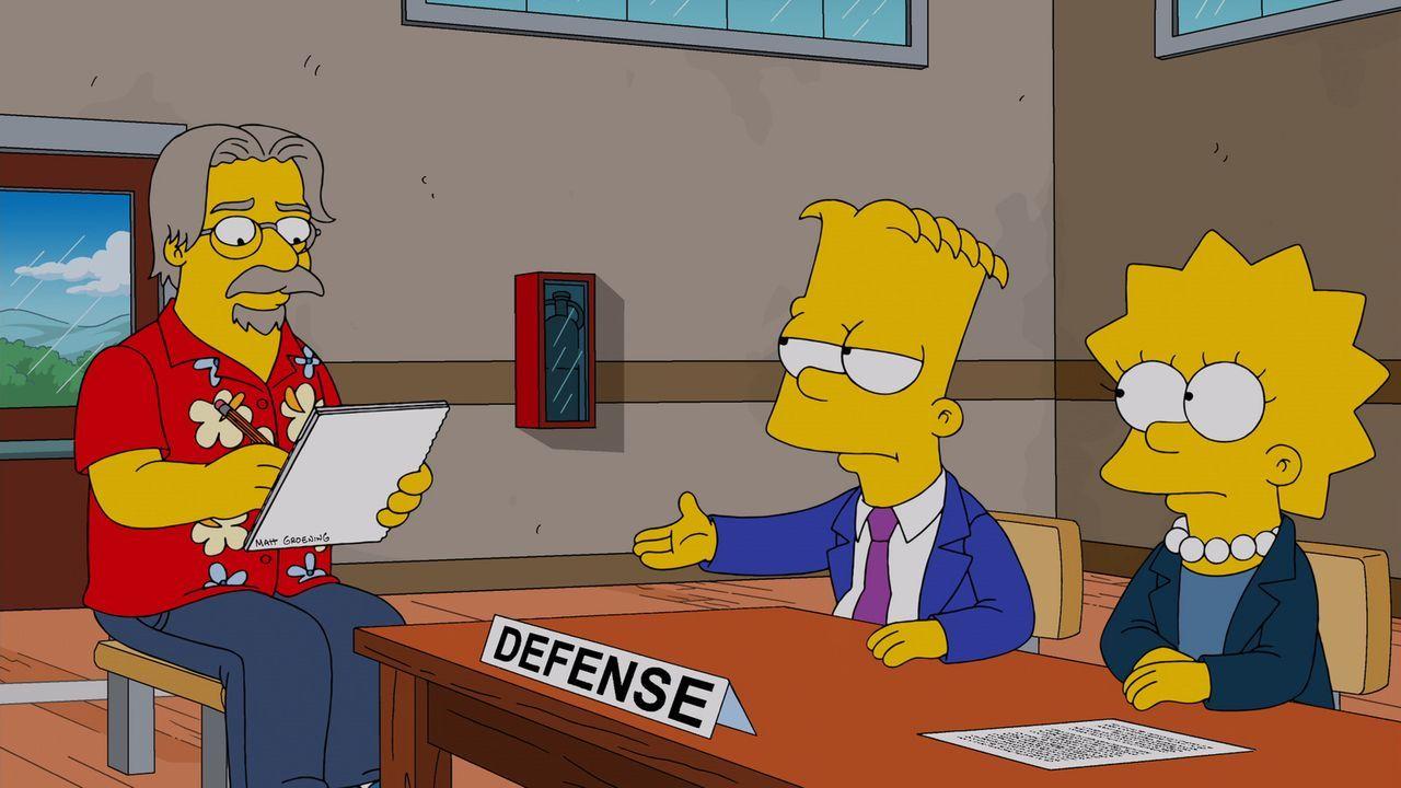 Der Gerichtszeichner (l.) versucht alles, um Bart (M.) und Lisa (r.) bei den Verhandlungen richtig aufs Papier zu bekommen ... - Bildquelle: und TM Twentieth Century Fox Film Corporation - Alle Rechte vorbehalten