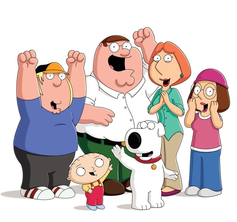 (16. Staffel) - Die Griffins: Chris (l.), Peter (2.v.l.), Lois (2.v.r.), Meg (r.), Brian (vorne r.) und Stewie (vorne l.). - Bildquelle: 2015-2016 Fox and its related entities.  All rights reserved.