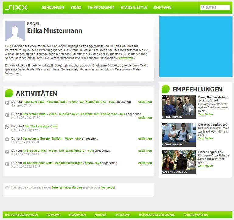 Der Profil-Bereich bei sixx.de - Bildquelle: ProSiebenSat.1 Digital