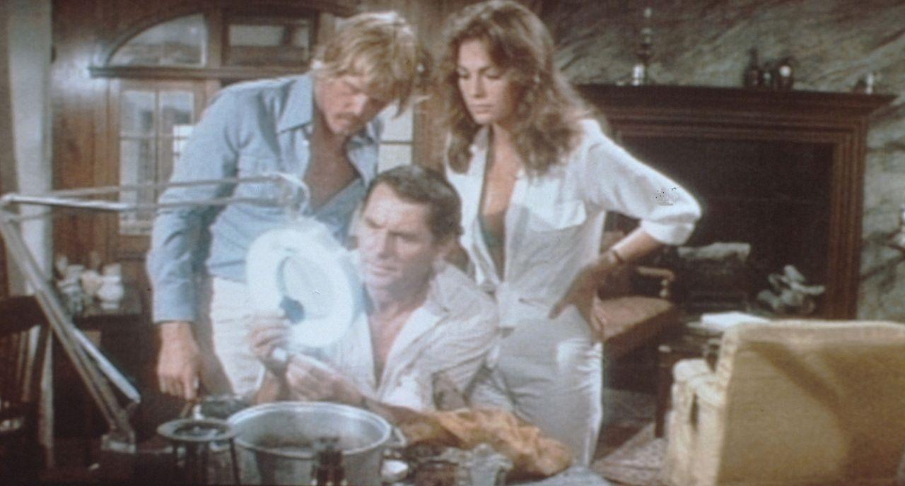 Bei ihrem Kampf gegen die Drogenhändler werden David (Nick Nolte, l.) und Gail (Jacqueline Bisset, r.) von dem rauhbeinigen Profi-Taucher Treece (R... - Bildquelle: Columbia Pictures