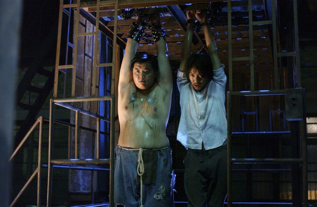 Seit Sing (Stephen Chow, r.) und sein Kumpel Gu (Lam Tze Chung, l.) nach Shanghai gekommen sind, geraten sie von einem Schlamassel in den nächsten... - Bildquelle: 2004 Columbia Pictures Film Production Asia Limited. All Rights Reserved.