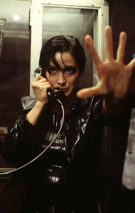 Mithilfe von Telefonleitungen können Trinity (Carrie-Anne Moss) und Co. in die Matrix hinein gehen und aus ihr entkommen. - Bildquelle: Warner Bros. Pictures