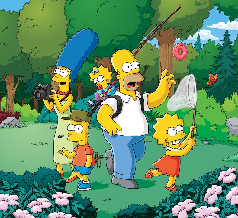 (27. Staffel) - Eine fast normale Familie: Lisa (r.), Marge (l.), Maggie (M.), Homer (2.v.r.) und Bart (2.v.l.) ... - Bildquelle: 2015 Fox and its related entities.  All rights reserved.