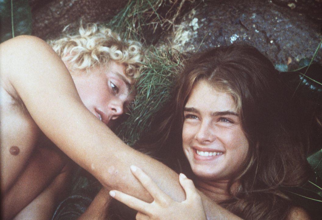 Emmeline (Brooke Shields, r.) und Richard (Christopher Atkins, l.) nehmen plötzlich unbekannte Gefühle an sich wahr. Sie entdecken die Liebe und d... - Bildquelle: Columbia Pictures