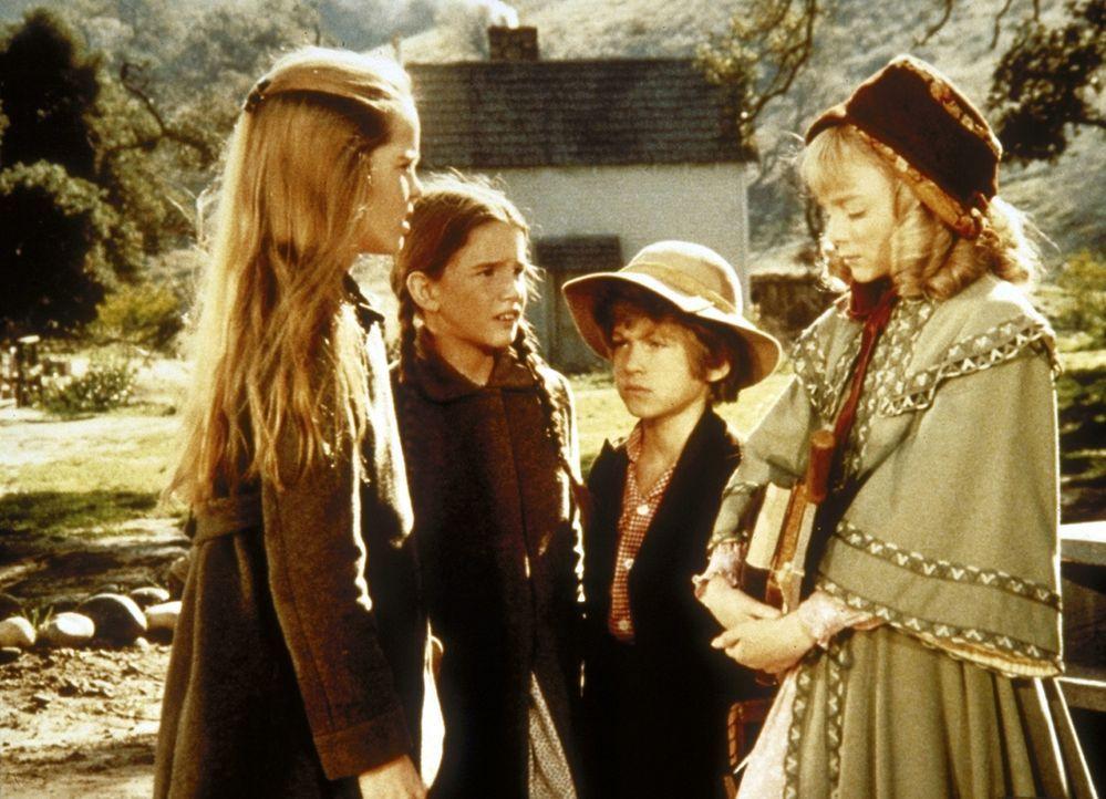 Mary (Melissa Sue Anderson, l.) und Laura (Melissa Gilbert, 2.v.l.) trösten die Oleson-Kinder Nellie (Alison Arngrim, r.) und Willie (Jonathan Gilb... - Bildquelle: Worldvision