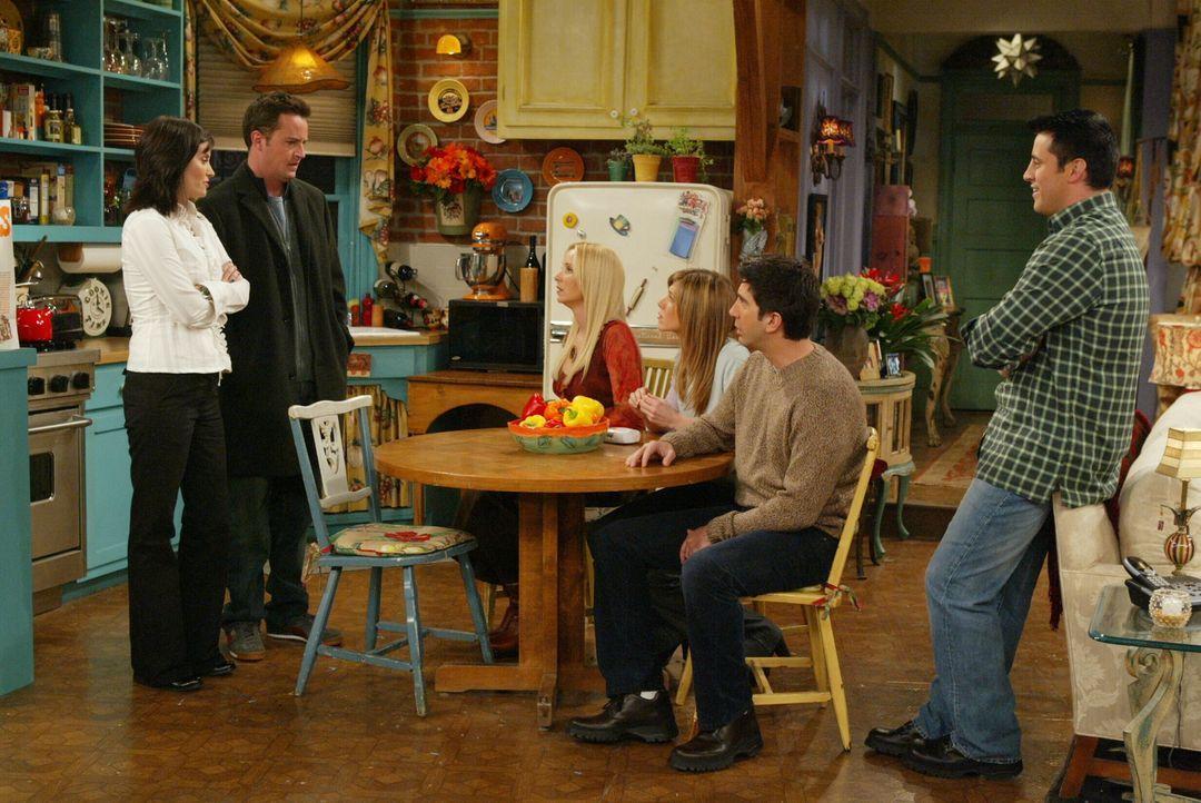Ein Schock für Phoebe (Lisa Kudrow, 3.v.l.), Rachel (Jennifer Aniston, 3.v.r.), Joey (Matt LeBlanc, r.) und Ross (David Schwimmer, 2.v.r.): Chandler... - Bildquelle: 2003 Warner Brothers International Television
