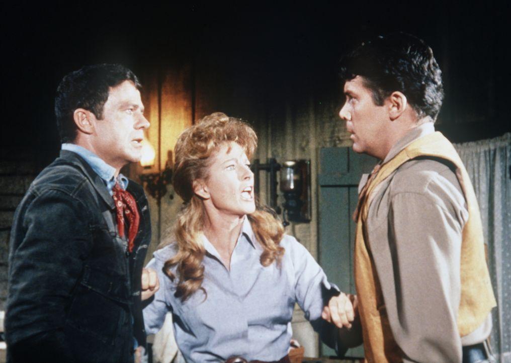Marcy (Coleen Gray, M.) versucht, einen Streit zwischen den Brüdern Virgil (Lee Patterson, l.) und Cleve (Jack Ging, r.) zu schlichten. - Bildquelle: Paramount Pictures
