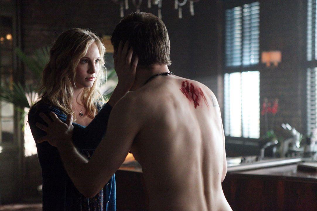 Klaus (Joseph Morgan, r.), der von Silas schwer verletzt wurde, bittet Caroline (Candice Accola, l.) um Hilfe ... - Bildquelle: Warner Brothers
