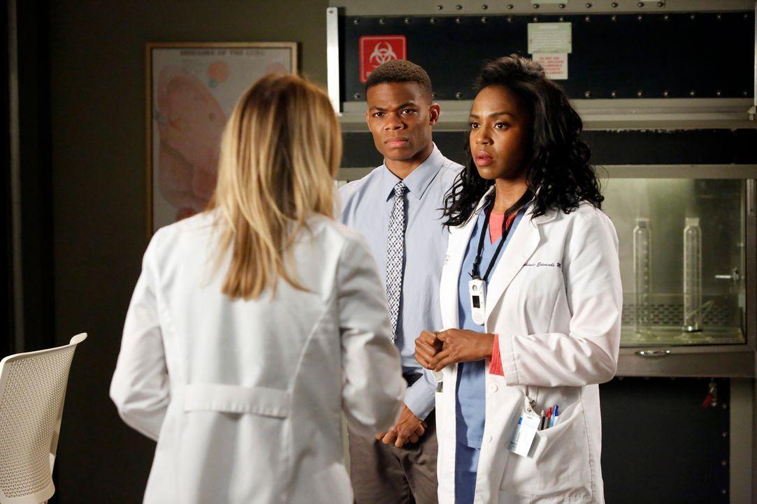 Während Meredith (Ellen Pompeo, l.) sich entschließt, einen Assistenten (Paul James, M.) einzustellen, den sie von Stephanie (Jerrika Hinton, r.) be... - Bildquelle: ABC Studios