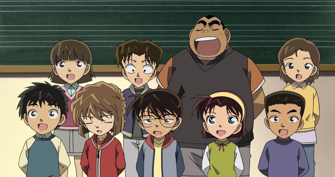 Als Conan (vorne M.), Ran und die anderen zu den Proben für das Eröffnungskonzert einer neuen Konzerthalle eingeladen werden, ahnt niemand, dass sie... - Bildquelle: 2008 GOSHO AOYAMA/DETECTIVE CONAN COMMITTEE All Rights Reserved.