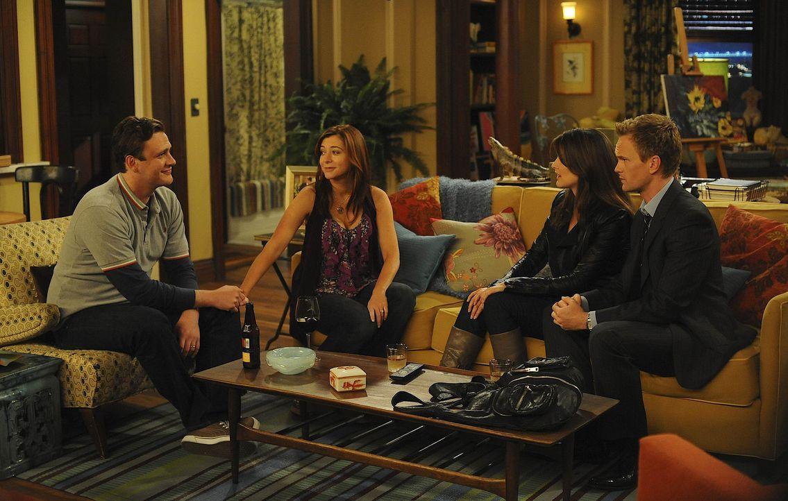Wer ist das perfekte Paar? Barney (Neil Patrick Harris, r.) und Robin (Cobie Smulders, 2.v.r.) oder Lily (Alyson Hannigan, 2.v.l.) und Marshall (Jas... - Bildquelle: 20th Century Fox International Television