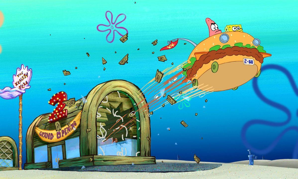 Im Burgermobil machen sich Patrick (l.) und Spongebob (r.) auf den Weg nach Shell City ... - Bildquelle: Copyright   2004 PARAMOUNT PICTURES and VIACOM INTERNATIONAL INC. All Rights Reserved. NICKELODEON, SPONGEBOB SQUAREPANTS and all related titles, logo