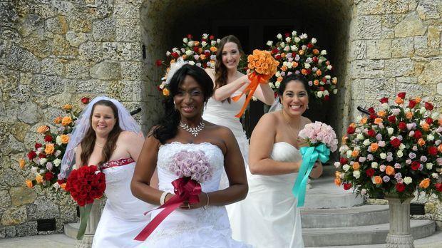 Sehen den vier Hochzeiten erwartungsvoll entgegen: Kim (l.), Debbie (2.v.l.),...