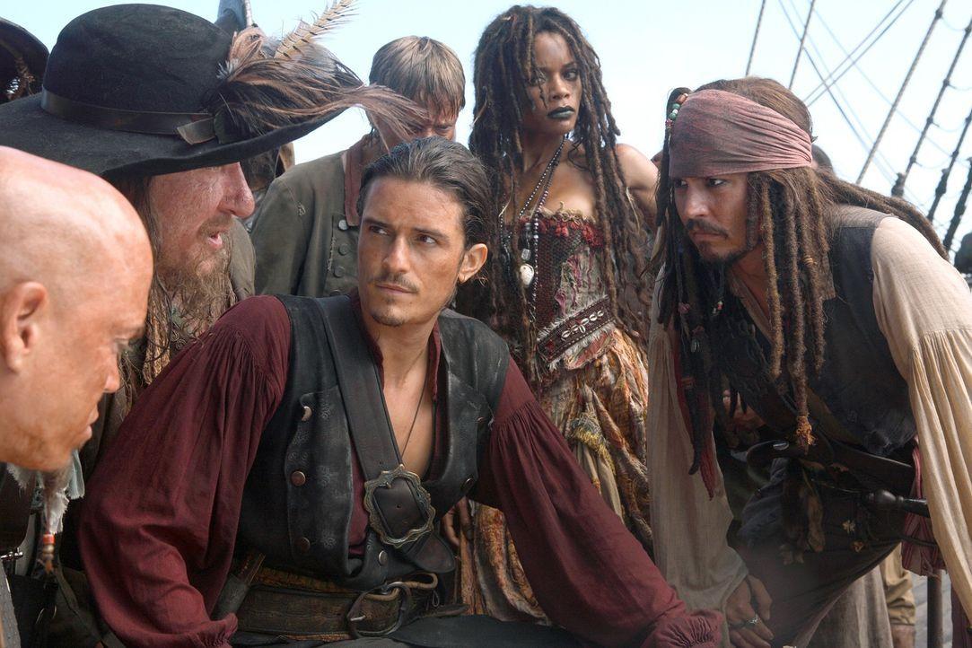 Wollen die neun Piratenlords zusammentrommeln, um mit vereinten Kräften die übermächtige Flotte des Feindes schlagen zu können: Turner (Orlando Bloo... - Bildquelle: Peter Mountain Disney Enterprises, Inc.  All rights reserved
