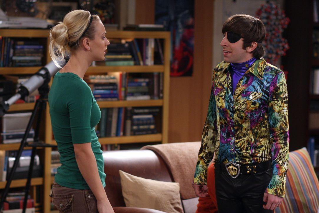 Howard (Simon Helberg, r.) probiert seine neue Anmach-Masche an Penny (Kaley Cuoco, l.) aus - mit wenig Erfolg ... - Bildquelle: Warner Bros. Television