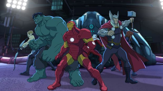 Die Rückkehr der Avengers: (v.l.n.r.) Hawkeye, Hulk, Iron Man, Falcon, Thor u...