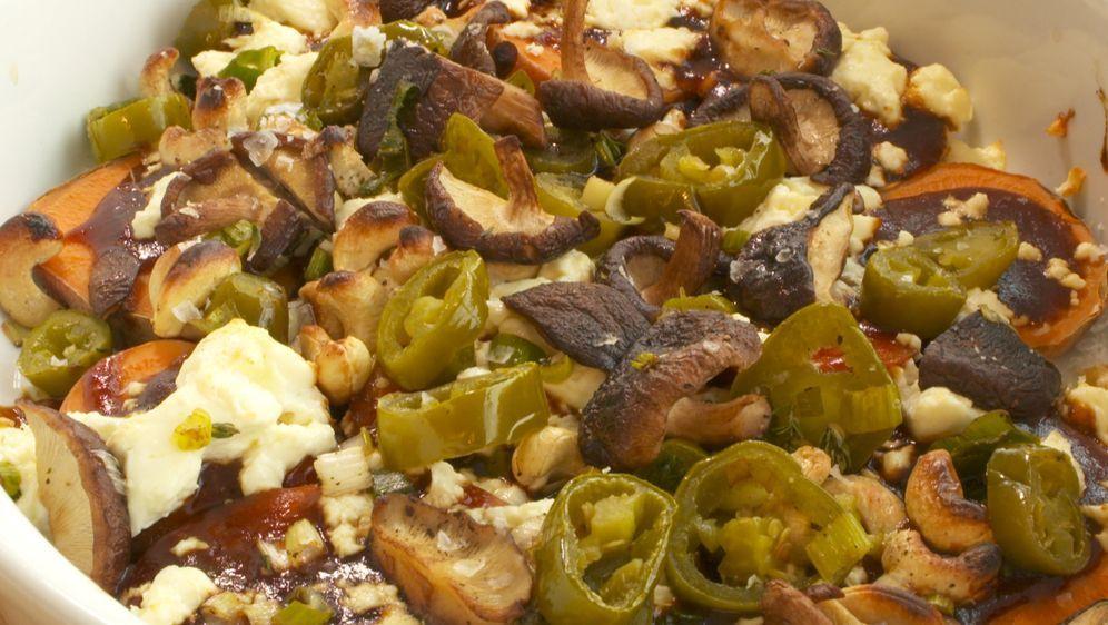 BBQ-Süßkartoffeln mit Shiitakepilzen